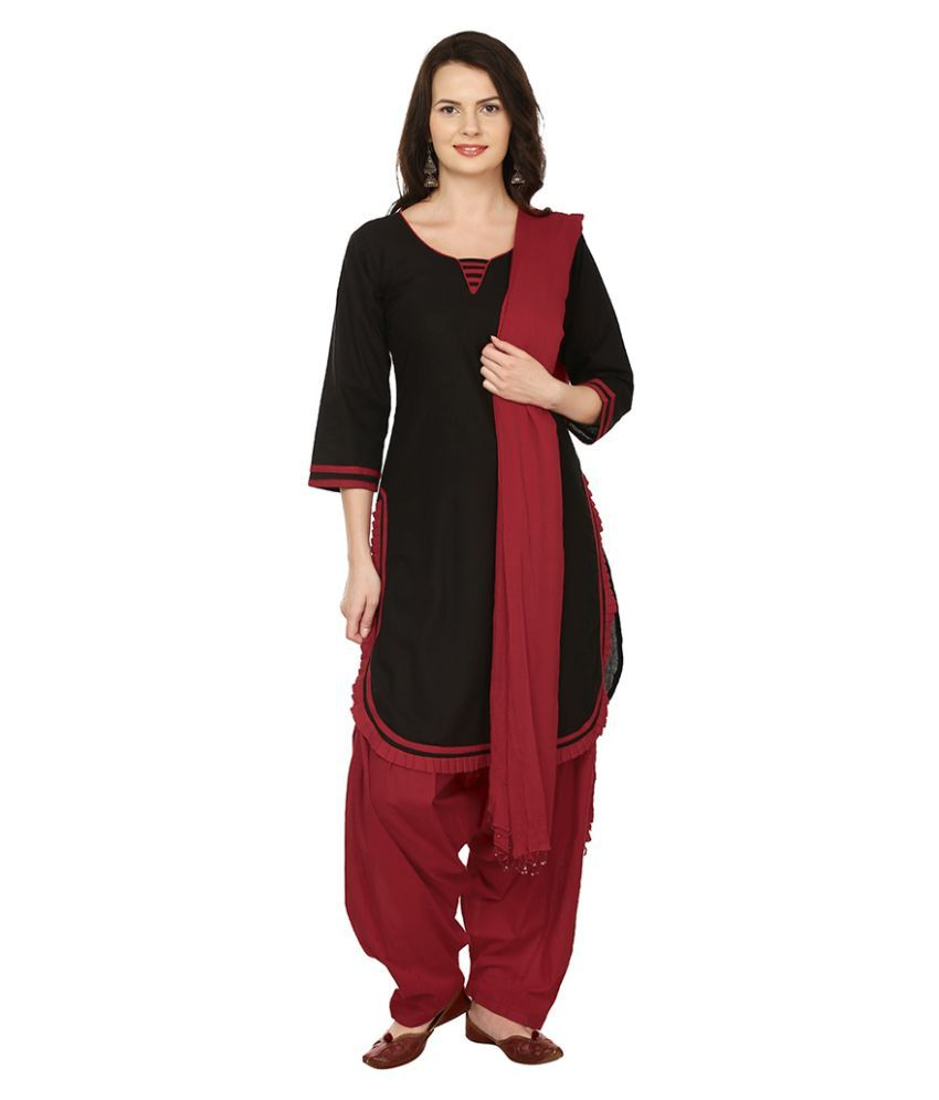 Lamizor Black Cotton Straight Stitched Suit