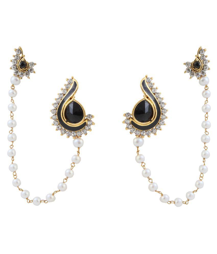 Kriaa By Jewelmaze Austrian Stone Black Meenakari Pearl Gold Plated Ear Cuff