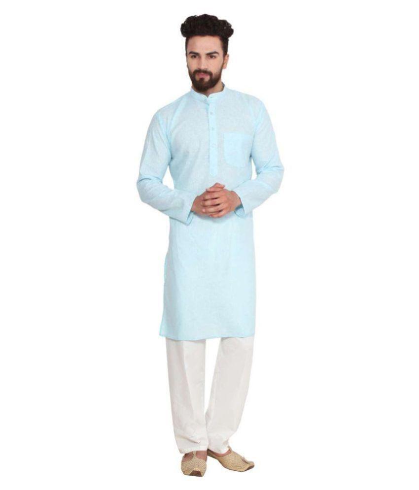Radhe Enterprises Blue Cotton Kurta Pyjama Set