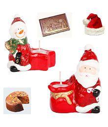 Ghasitaram Gifts Set Of 2 Santa Candles With Christmas Chocolate Bar And Plum Cake
