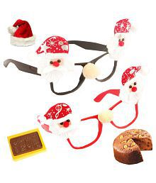 Ghasitaram Gifts Set Of 2 Santa Specs With 2 Reindeer Hand Bands With Christmas Chocolate Bar And Plum Cake