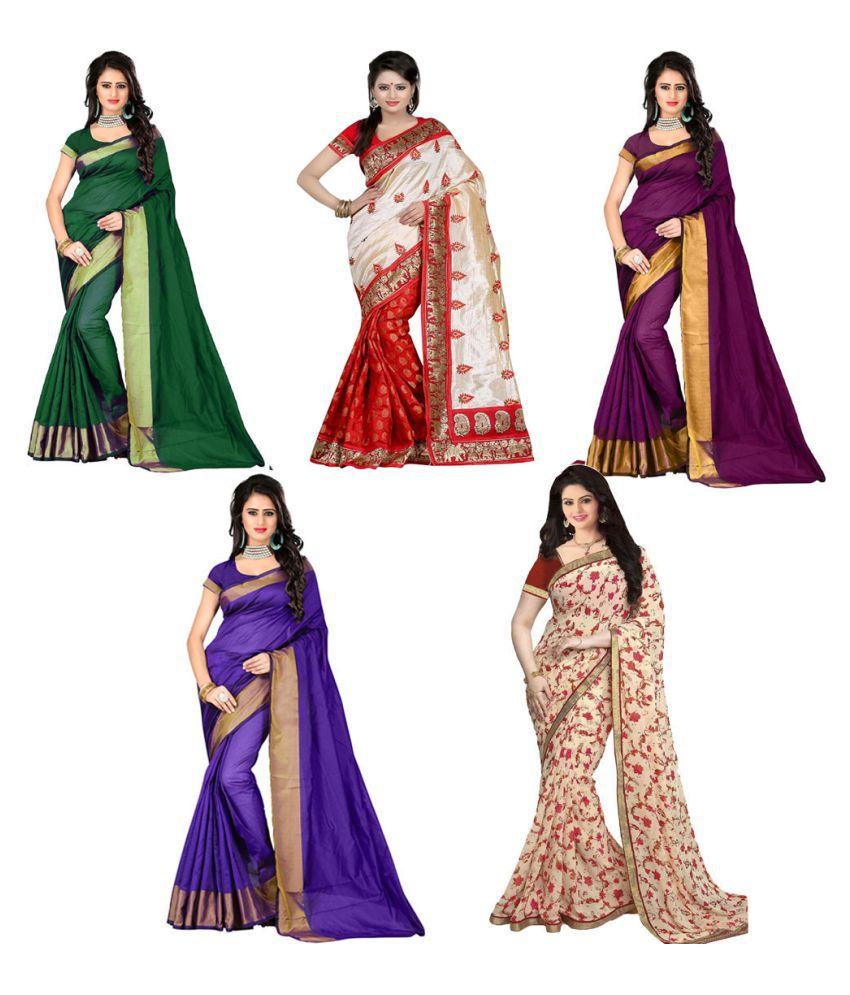 Pramukh Suppliers Multicoloured Bhagalpuri Silk Saree Combos
