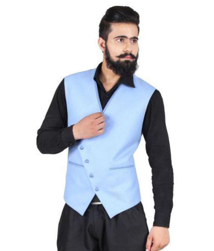 Blackthread Blue Solid Wedding Waistcoats