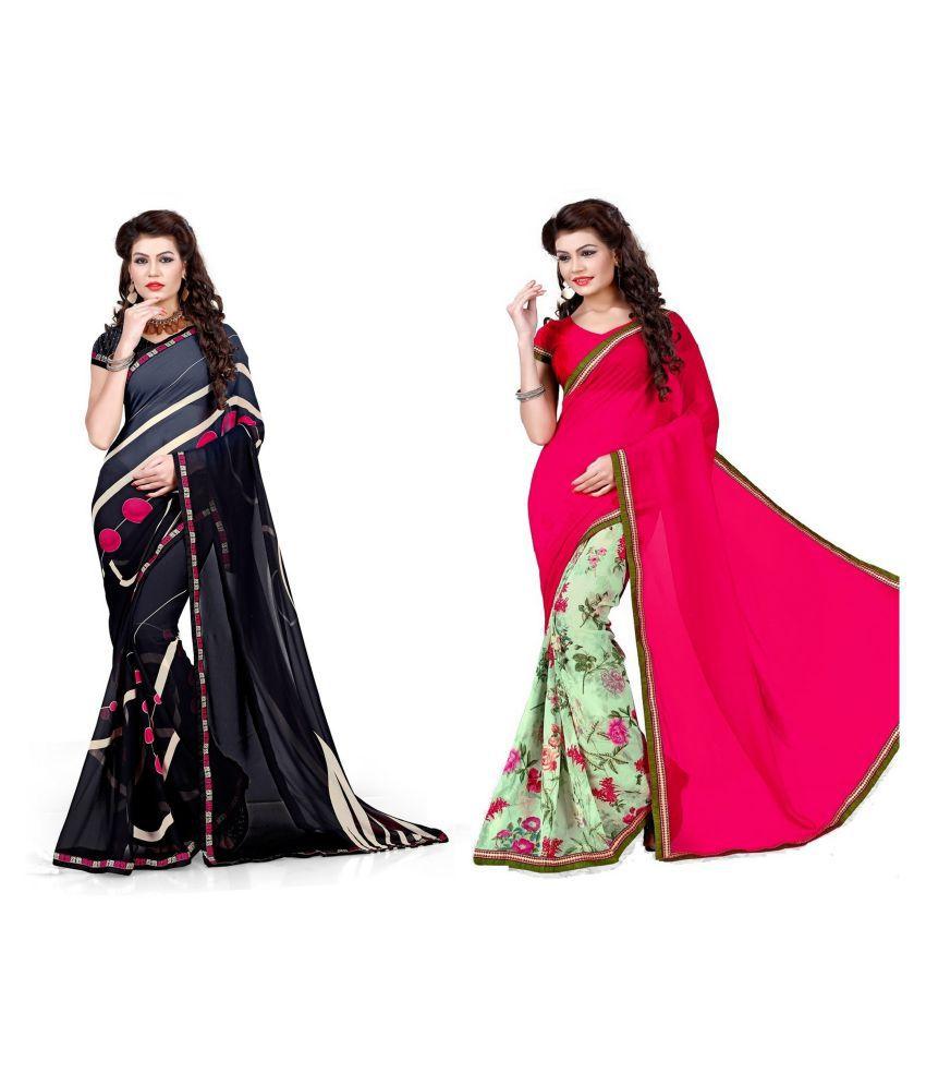 Rajesh Silk Mills Multicoloured Georgette Saree Combos