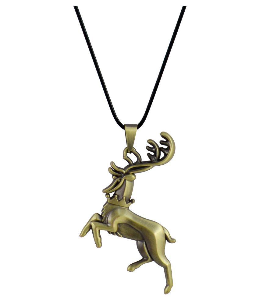 Sarah Gold Alloy Deer Pendant Necklace For Men