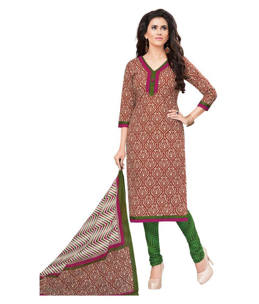 Salwar Studio Brown Cotton Dress Material