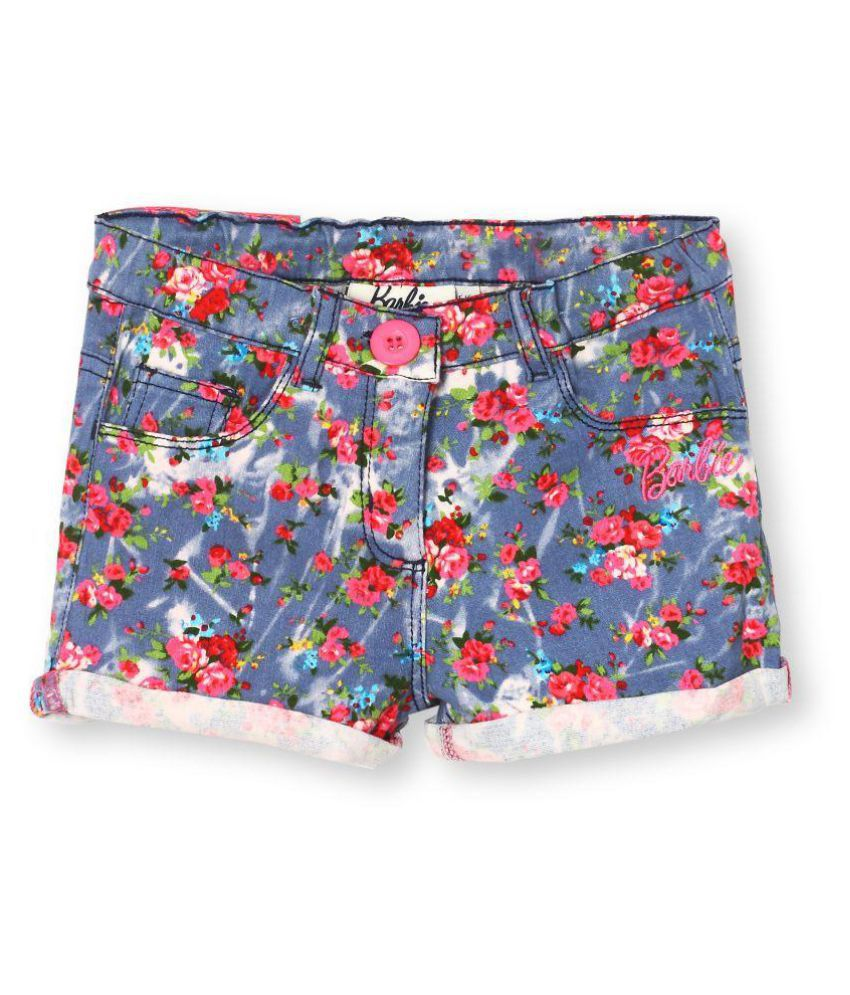 Barbie Distress Denim Floral Print Turn Up Shorts