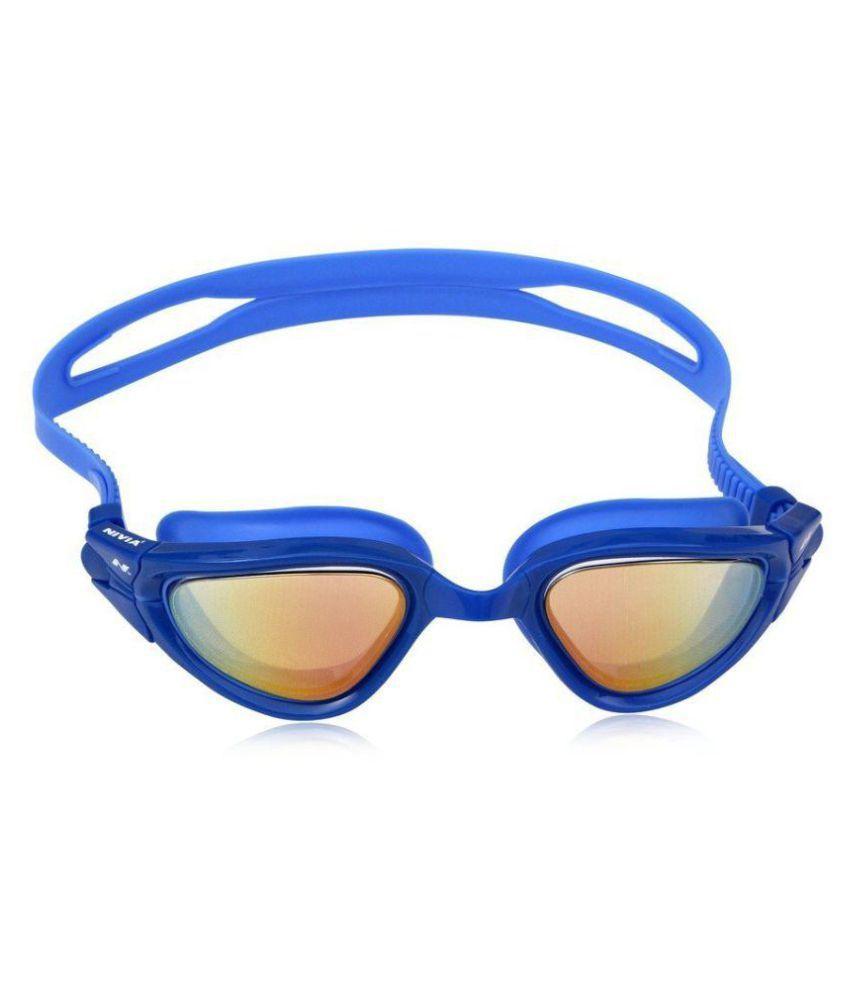 Nivia Whale Unisex Slip Resistant and Anti Fog Coating Swimming Goggles  Blue  n4064bl