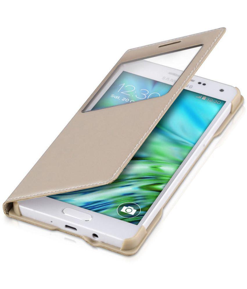 Samsung Galaxy J1 Ace Flip Cover by Vorson - Golden
