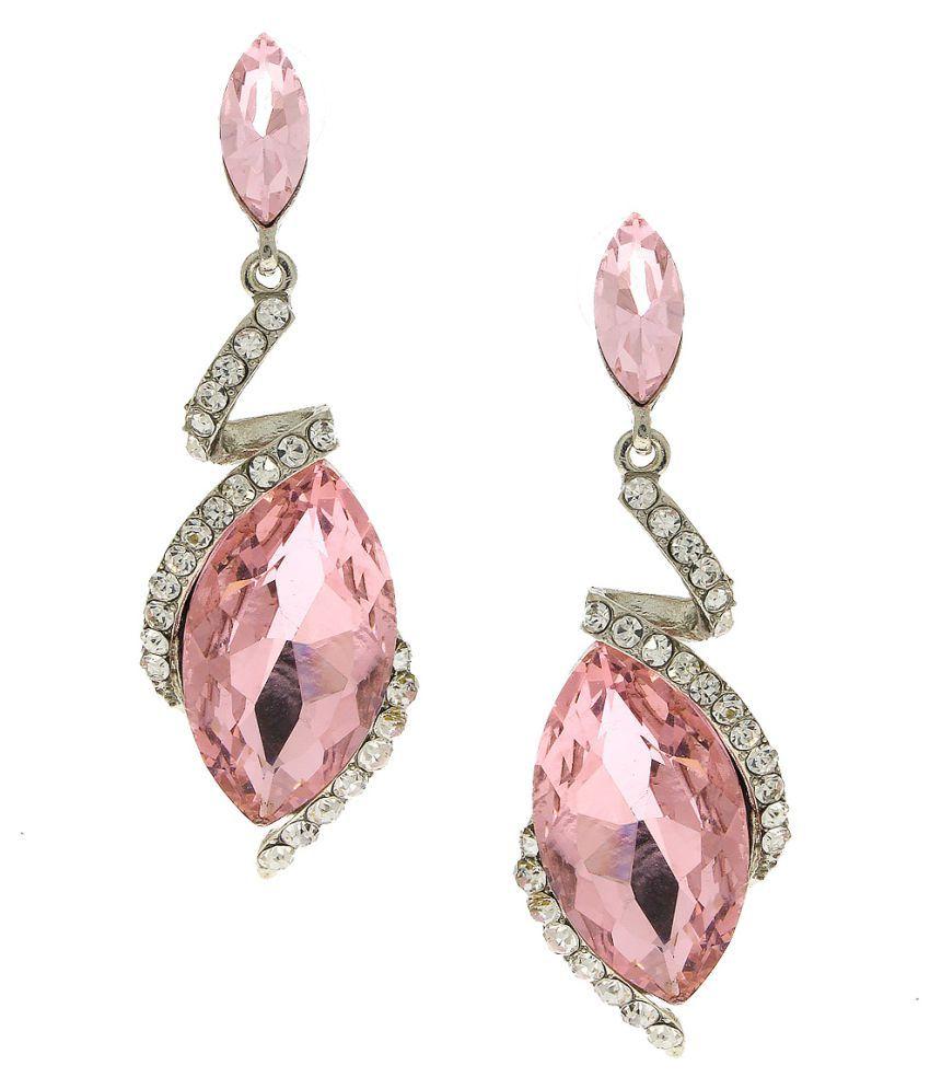 Anuradha Art Pink Colour Designer Stylish Classy Fancy Long Drop Earrings