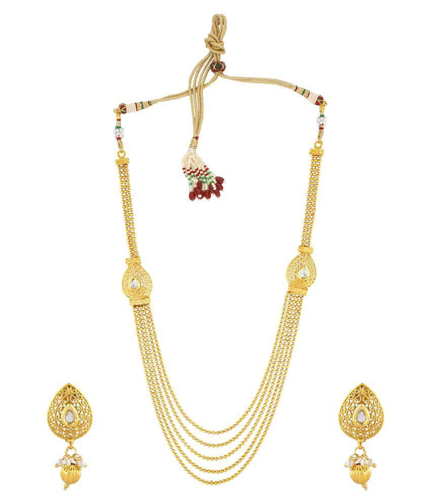 Anuradha Art Round Shape Classy Designer Golden Colour Stone Traditional Long Necklace Set for Women/Girls
