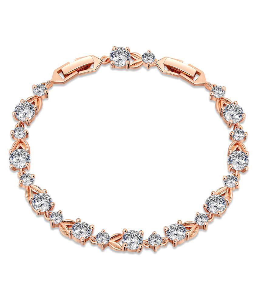 Lovebrightjewelry Stylish Design Cubic Zircon Bracelet Rose Gold Color  Vermeil