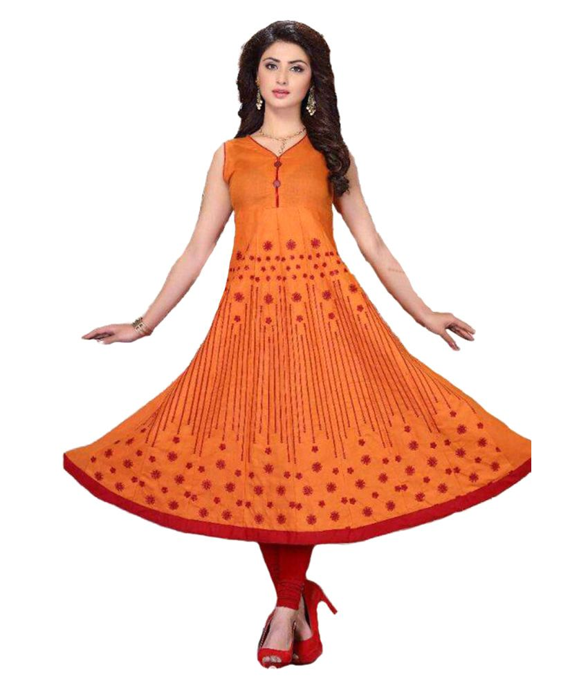 Radhika Creating World Orange Cotton Anarkali Kurti
