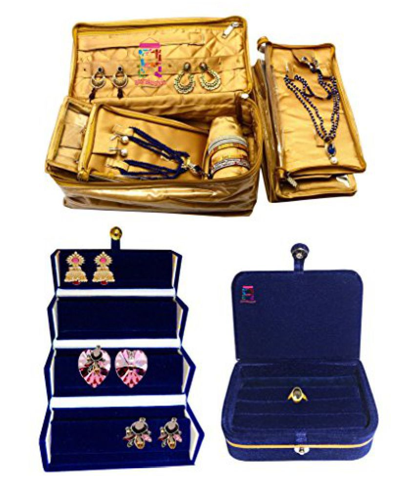 Atorakushon Combo Jewellery 4 Pouch 1 roll Bangle Necklace Earrings Tops Studs with a Blue Ring Box and Earrings folder Half Set Bag Box Case Organizer for Women Girls make up kit