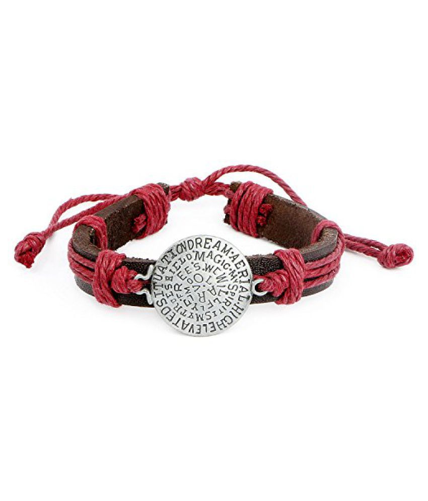 Johareez Handmade Leather Brown Coin Style Bracelet for Men