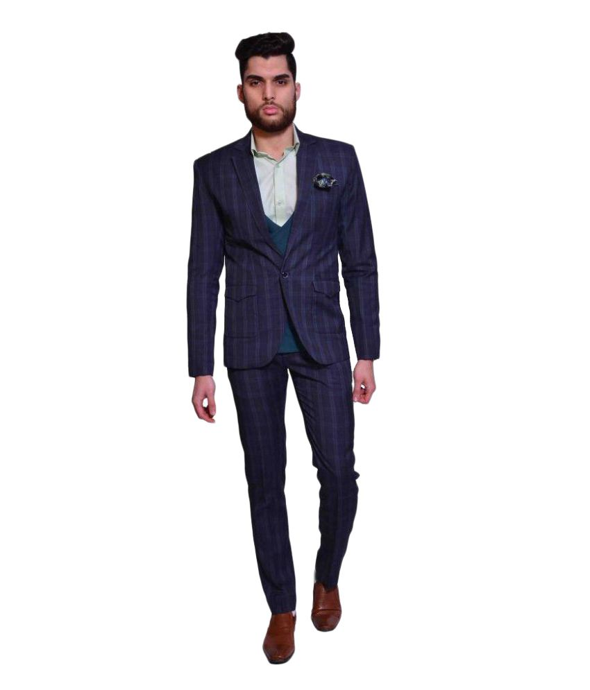 Manu Couture Blue Checks Formal 3 Piece Suits