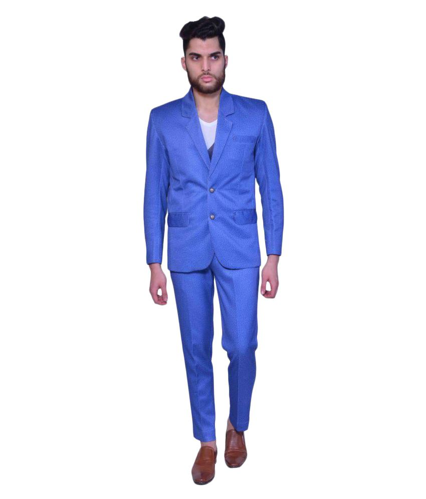Manu Couture Blue Self Design Casual 3 Piece Suits