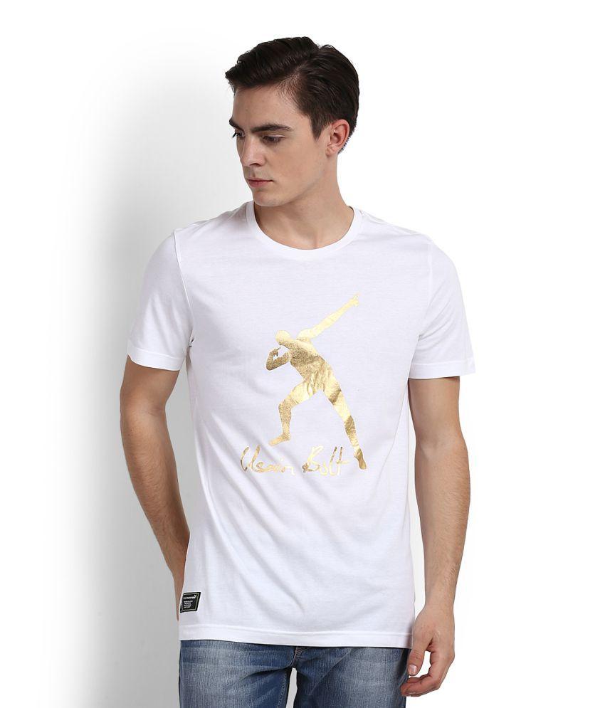 Puma White Round T-Shirt