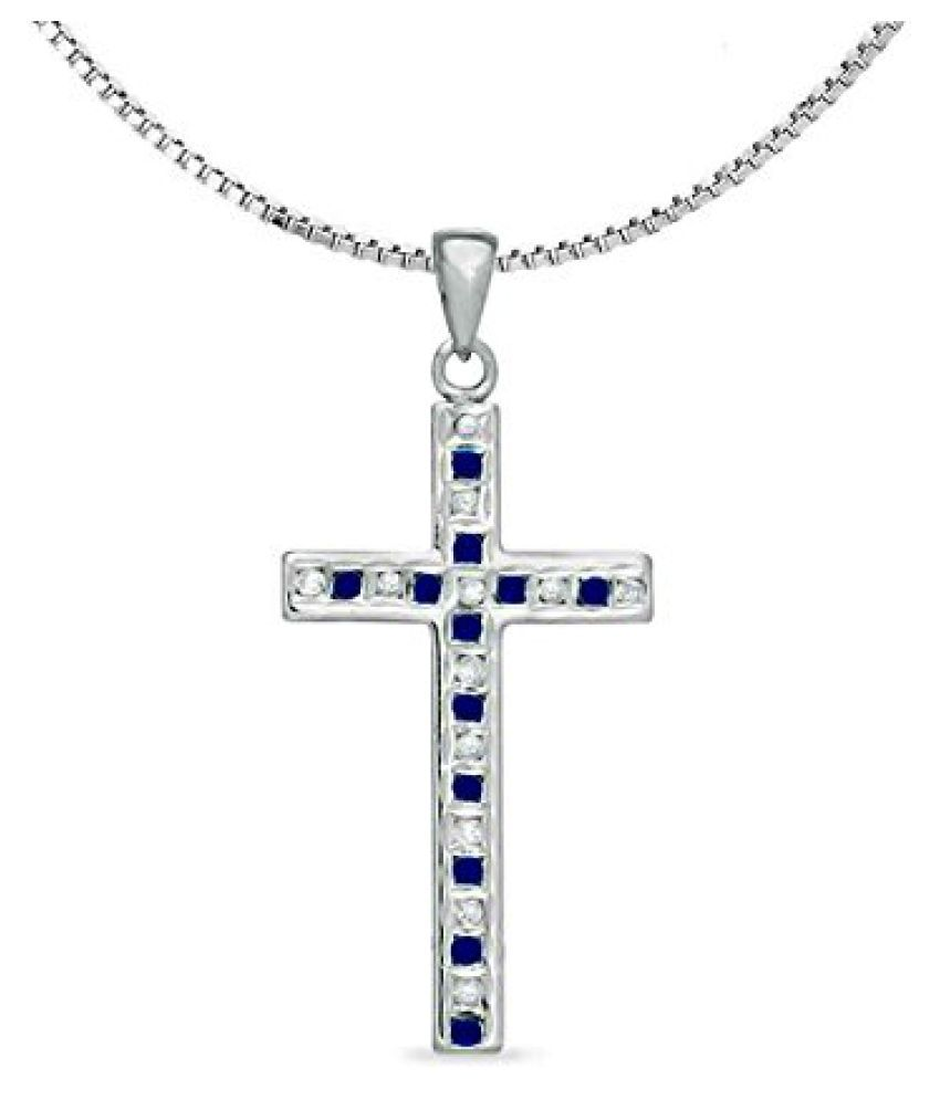 Voylla Blue Sapphire Stone Studded Sterling Silver Christ Cross Diamond Sparkling Pendant With Chain