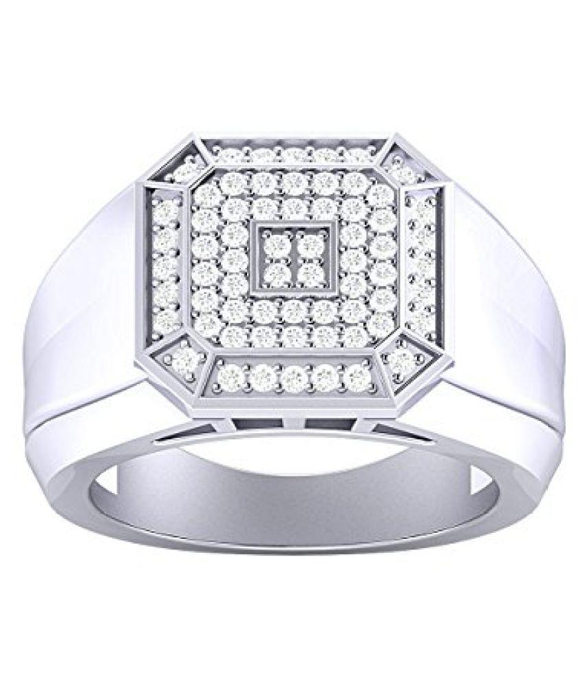 Voylla Sterling Silver Rhodium Imitation Mother Of Pearl Inlay Ring