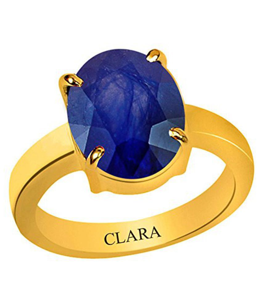 Clara Certified Blue Sapphire Neelam 6.5 carat or 7.25ratti Panchdhatu Gold Plating Astrological Ring For Men & Women