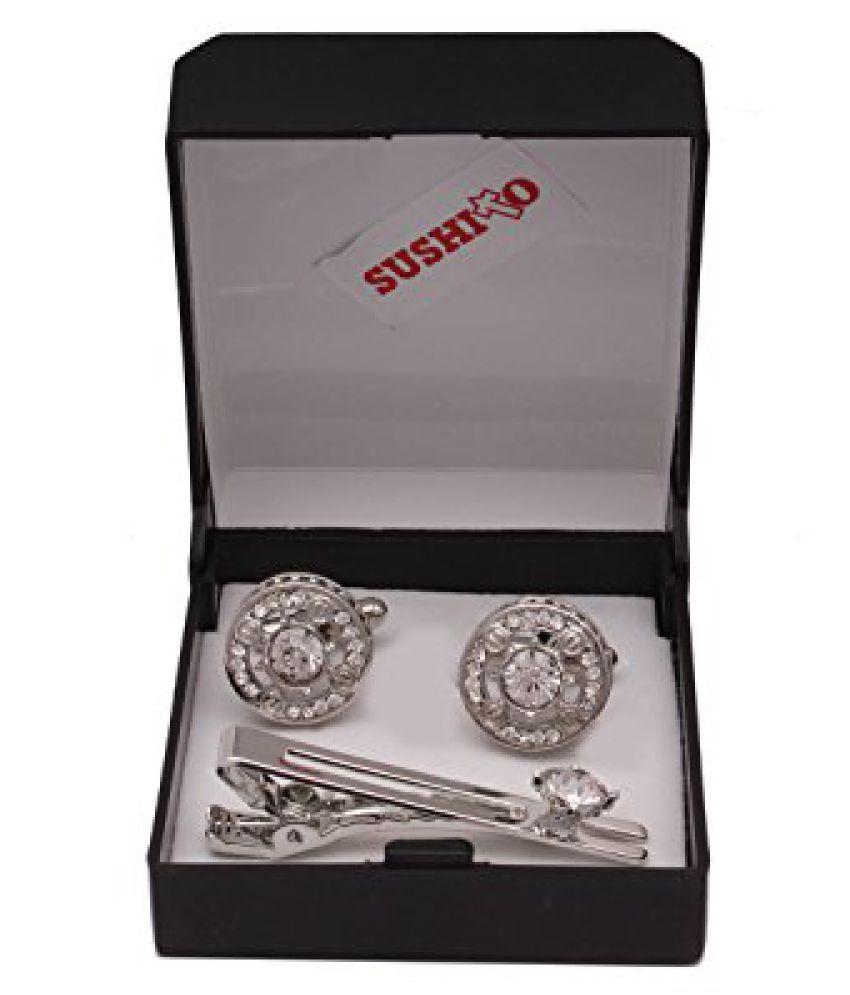 Designer Jaipuri Silver Cufflink With Tie Pin