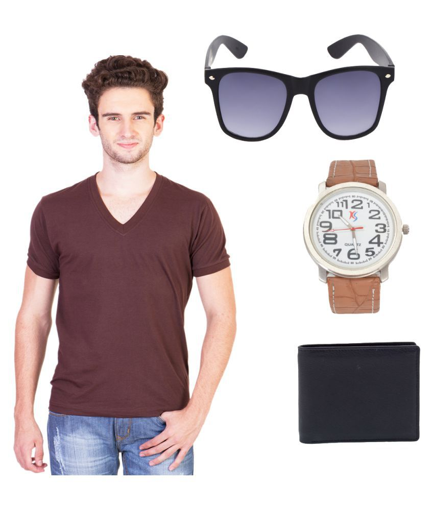 Knightly Fashion Brown V-Neck T-Shirt
