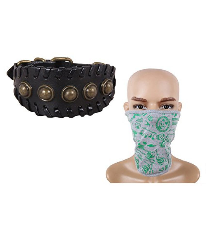 Sushito Valentine Trendy Black Wrist Band Combo Face mask