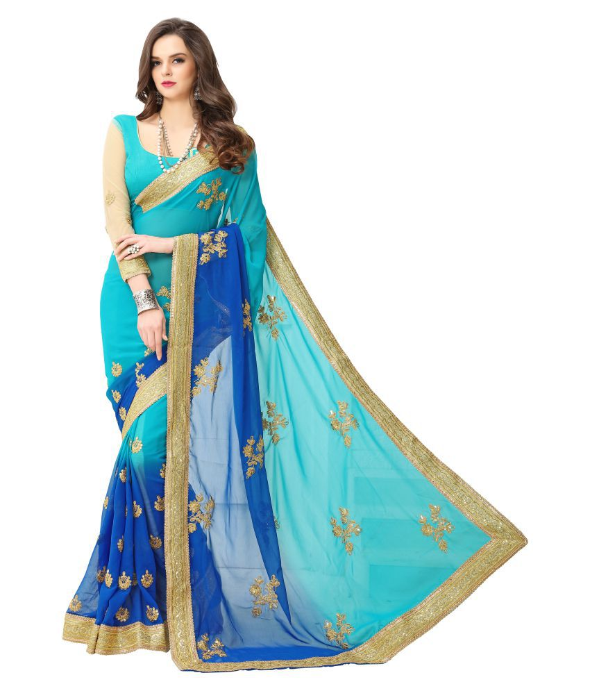 8b660df315958 Zofey Bollywood Designer Sarees Blue and Beige Georgette Saree - Buy Zofey  Bollywood Designer Sarees Blue and Beige Georgette Saree Online at Low Price  ...