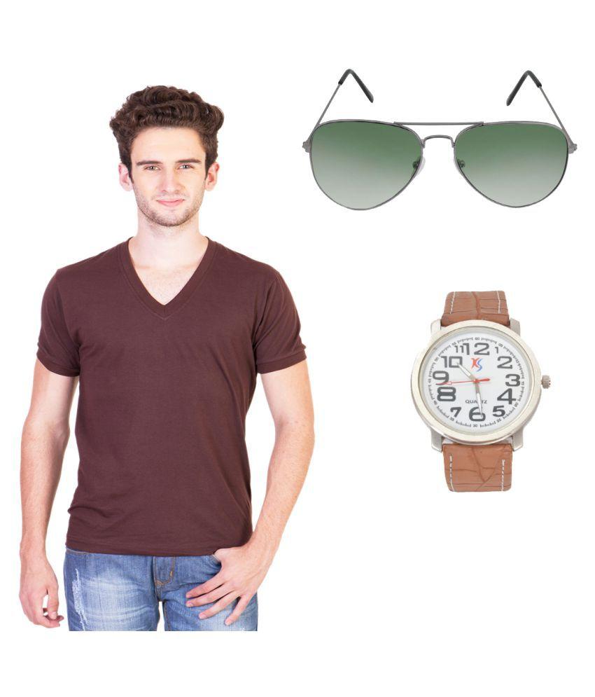 Knightly Fashion Brown V-Neck T-Shirt