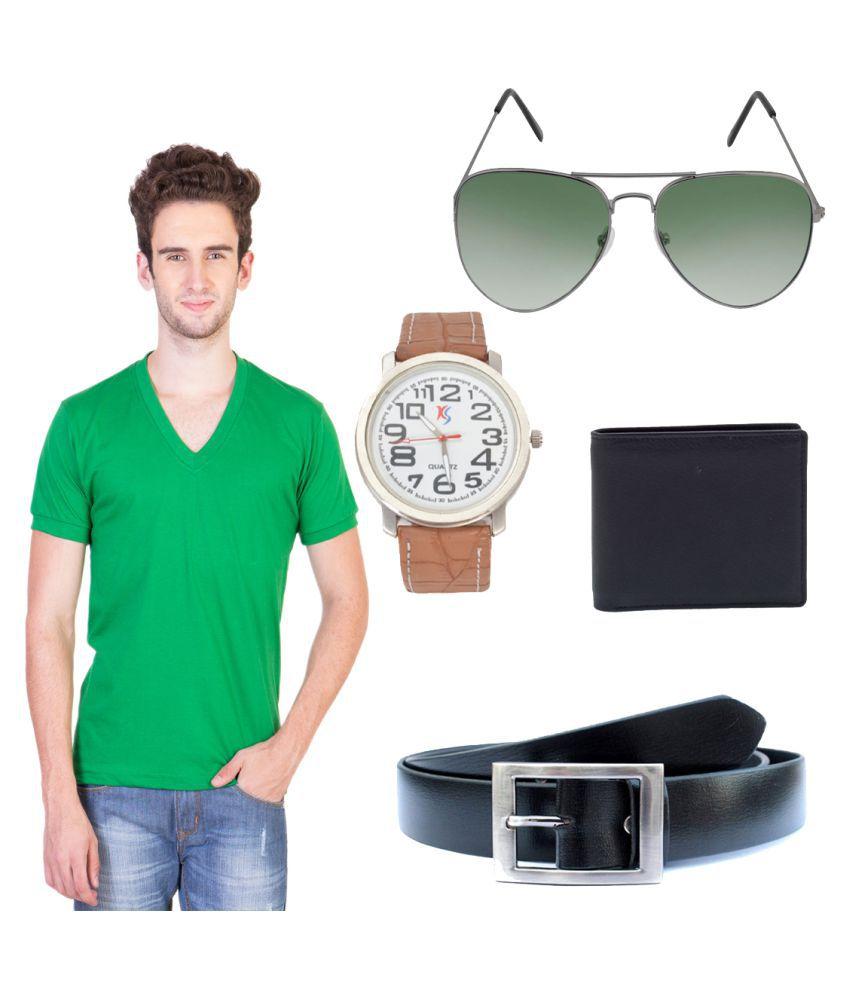 Knightly Fashion Green V-Neck T-Shirt
