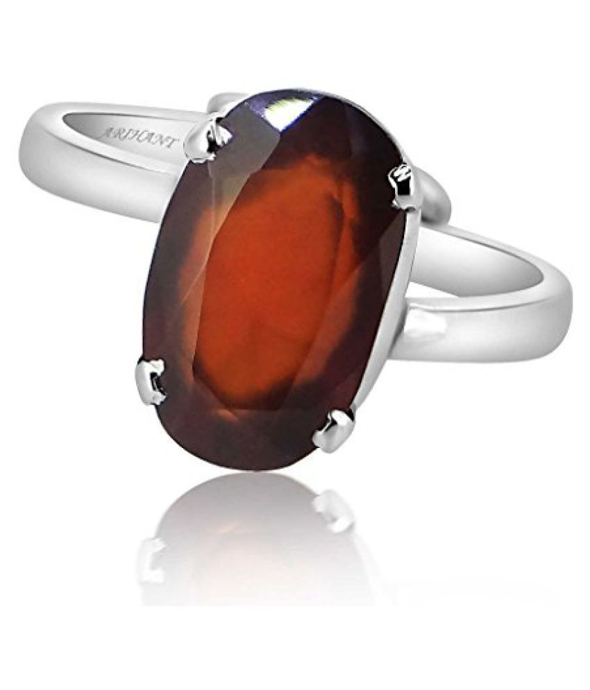HESSONITE GARNET 10.25 - 10.50 Ratti NATURAL & GJSPC CERTIFIED Hessonite Garnet (Gomed) ASTROLOGICAL GEMSTONE Adjustable SILVER RING By ARIHANT GEMS AND JEWELS