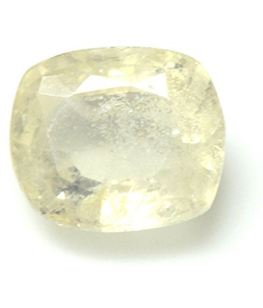 PUKHRAJ LOOSE 100% NATURAL & CERTIFIED 3.94 ct. YELLOW SAPPHIRE BIRTHSTONE BY ARIHANT GEMS AND JEWELS