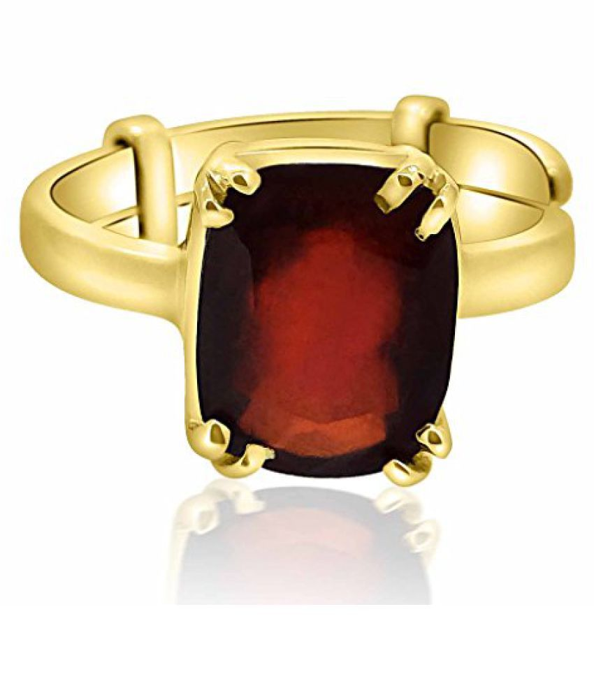 Hessonite Ring 8.25 - 8.50 Ratti NATURAL & GJSPC CERTIFIED Hessonite Garnet (Gomed) ASTROLOGICAL GEMSTONE Adjustable Panchdhatu Ring By Arihant Gems & Jewels
