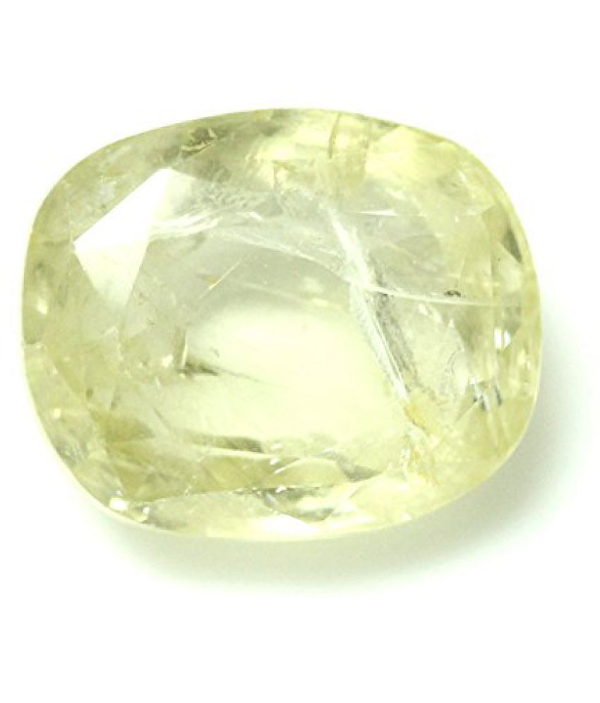 PUKHRAJ 5.47 ct. / 6.08 Ratti YELLOW SAPPHIRE (PUKHRAJ) Certified GEMSTONE BY ARIHANT GEMS AND JEWELS