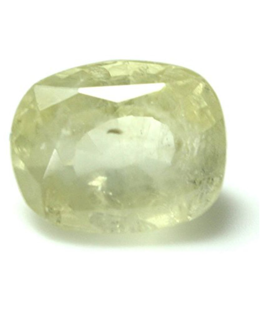 LOOSE 100% NATURAL & CERTIFIED 6.12 ct. YELLOW SAPPHIRE BIRTHSTONE BY ARIHANT GEMS & JEWELS