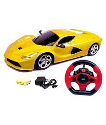 Variety Gift Centre Yellow Plastic Remote Control Rechargeable Toy Car With Steering