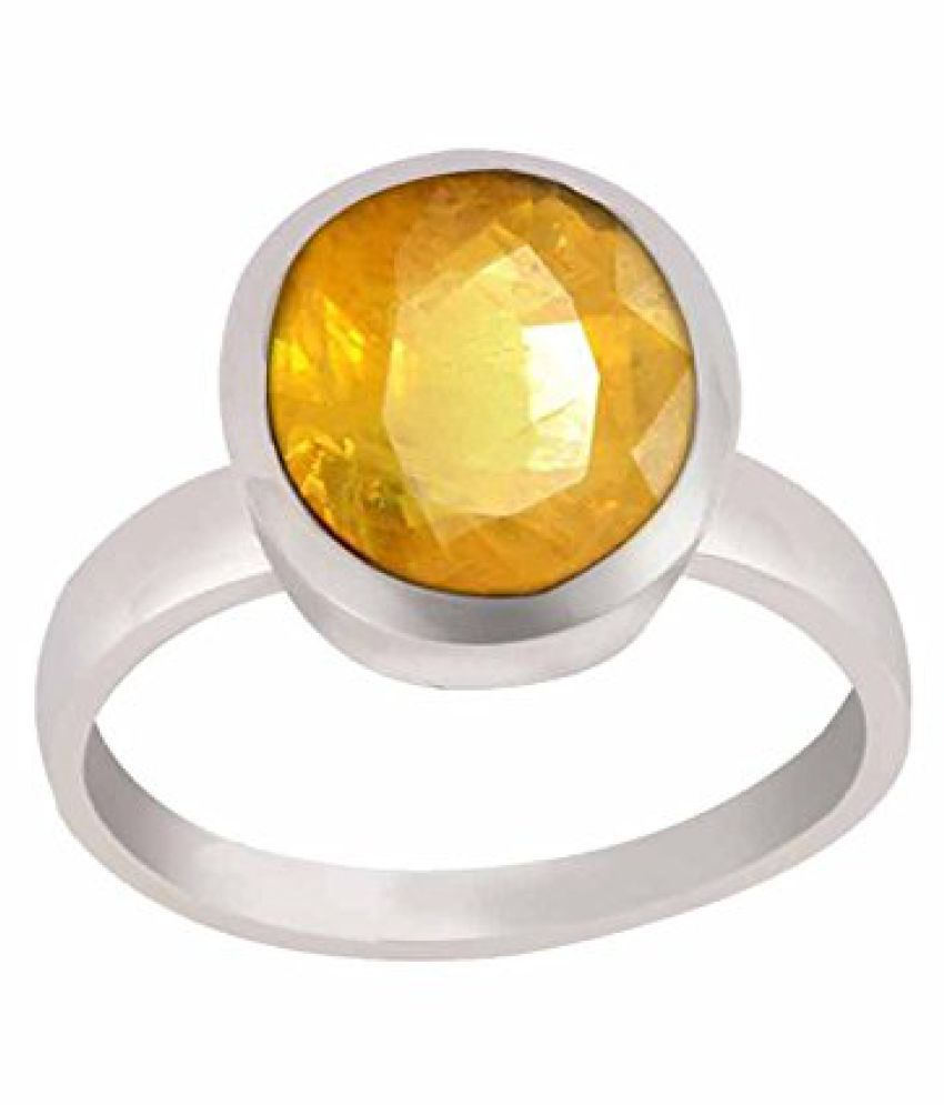 5.25 Ratti Natural Yellow Sapphire Certified Silver Ring