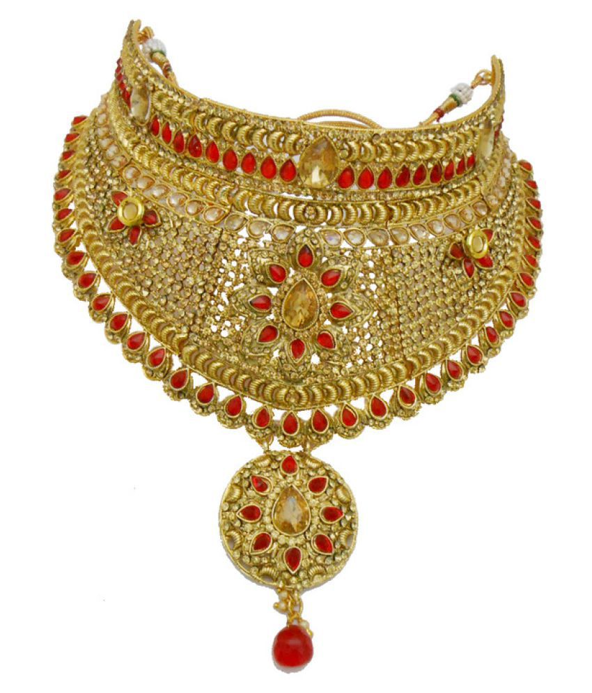 f099148114 ... My Design Traditional Bridal Gold Plated Red Kundan Jewellery Set ...
