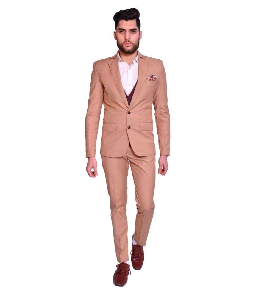 Manu Couture Beige Solid Wedding 3 Piece Suits