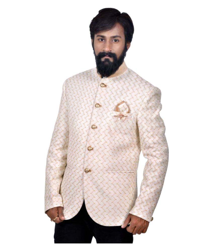 Mark Estilo Off-White Self Design Wedding Blazers