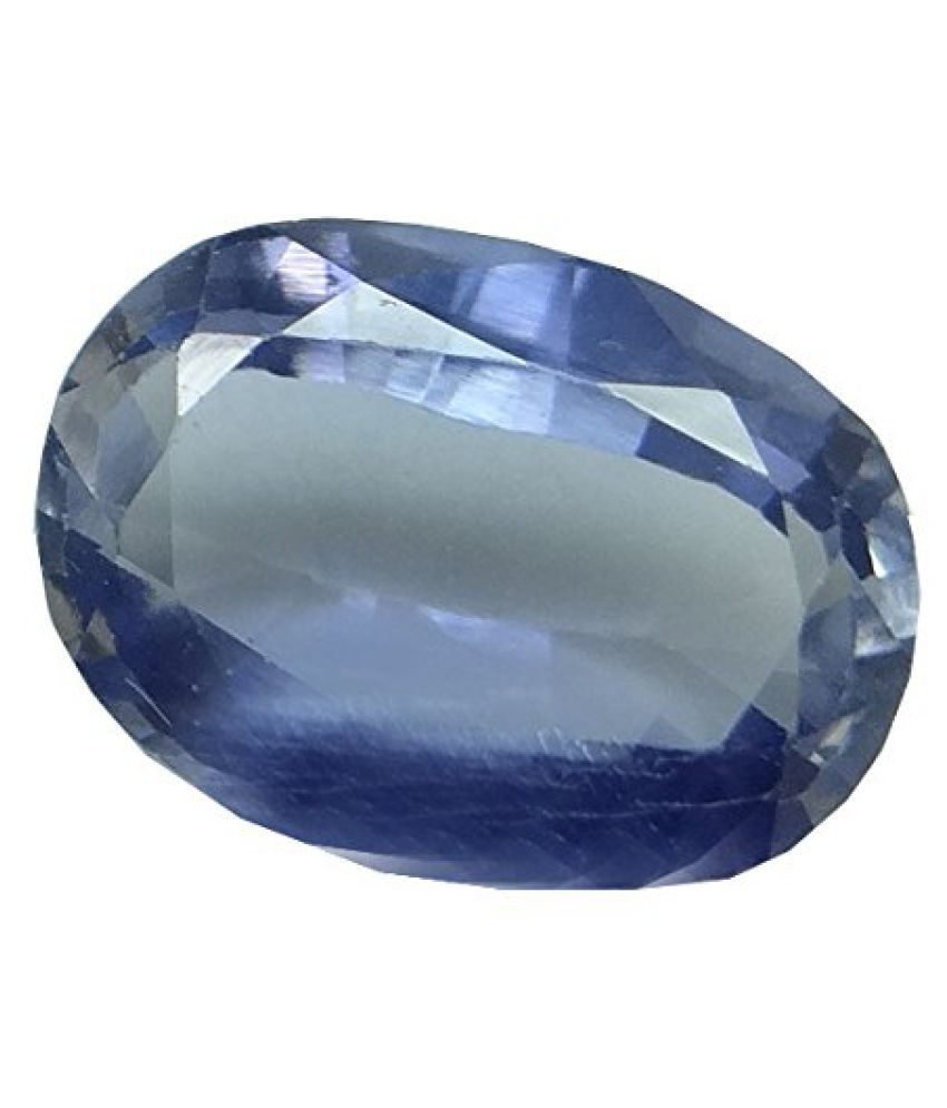 SAPPHIRE 7.44 ct. / 8.26 Ratti PURE & IIGS CERTIFIED SYNTHETIC SAPPHIRE ASTROLOGICAL GEMSTONE BY ARIHANT GEMS AND JEWELS