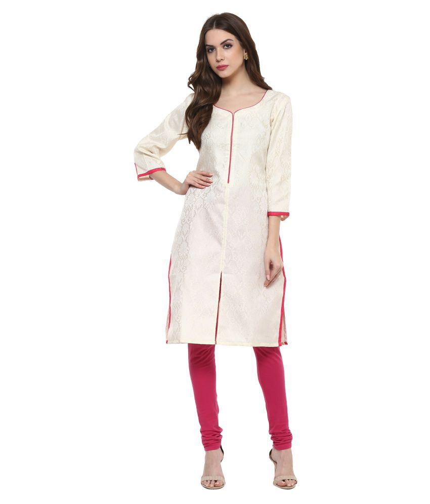 4b0e3710741f0 AruNaya Design Studio Off White Brocade Front Slit Kurti - Buy AruNaya Design  Studio Off White Brocade Front Slit Kurti Online at Best Prices in India on  ...