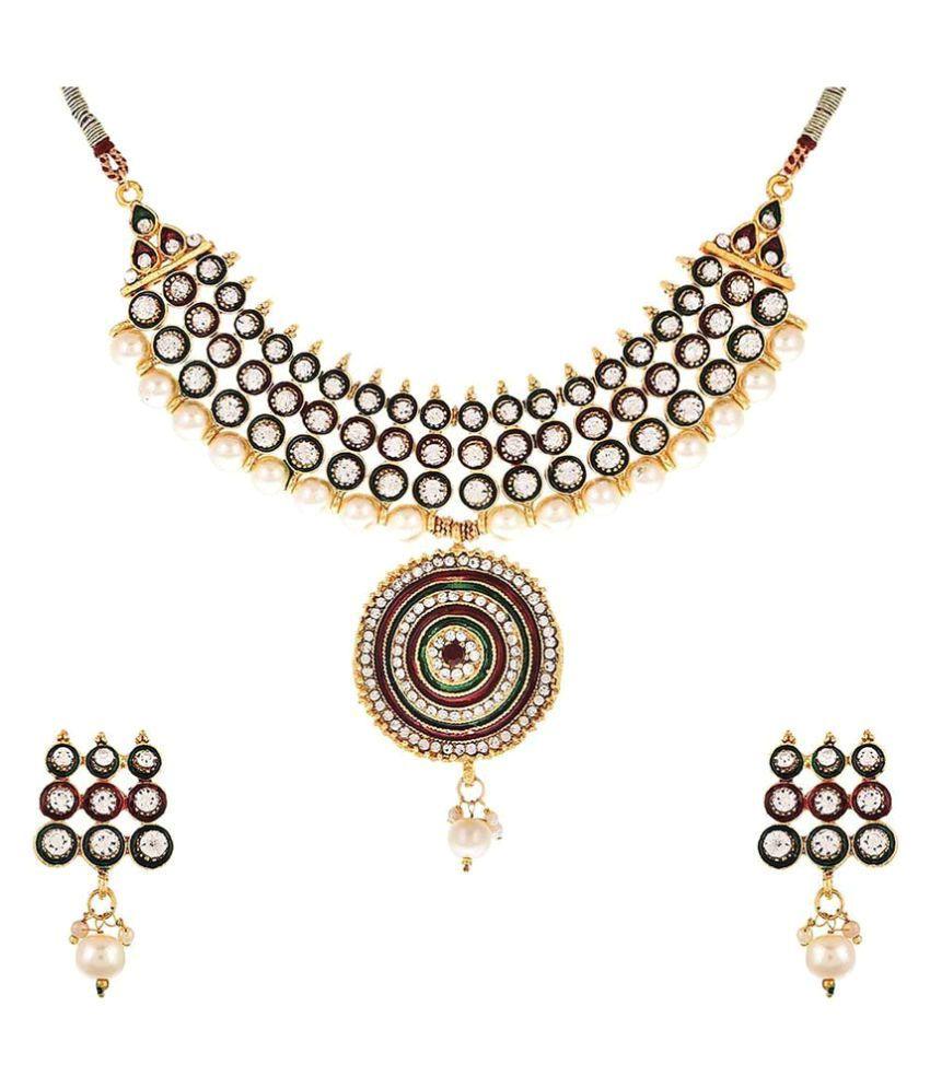 KAD Creations Multicolour Designer Party Wear Traditional American Diamond Necklace Set