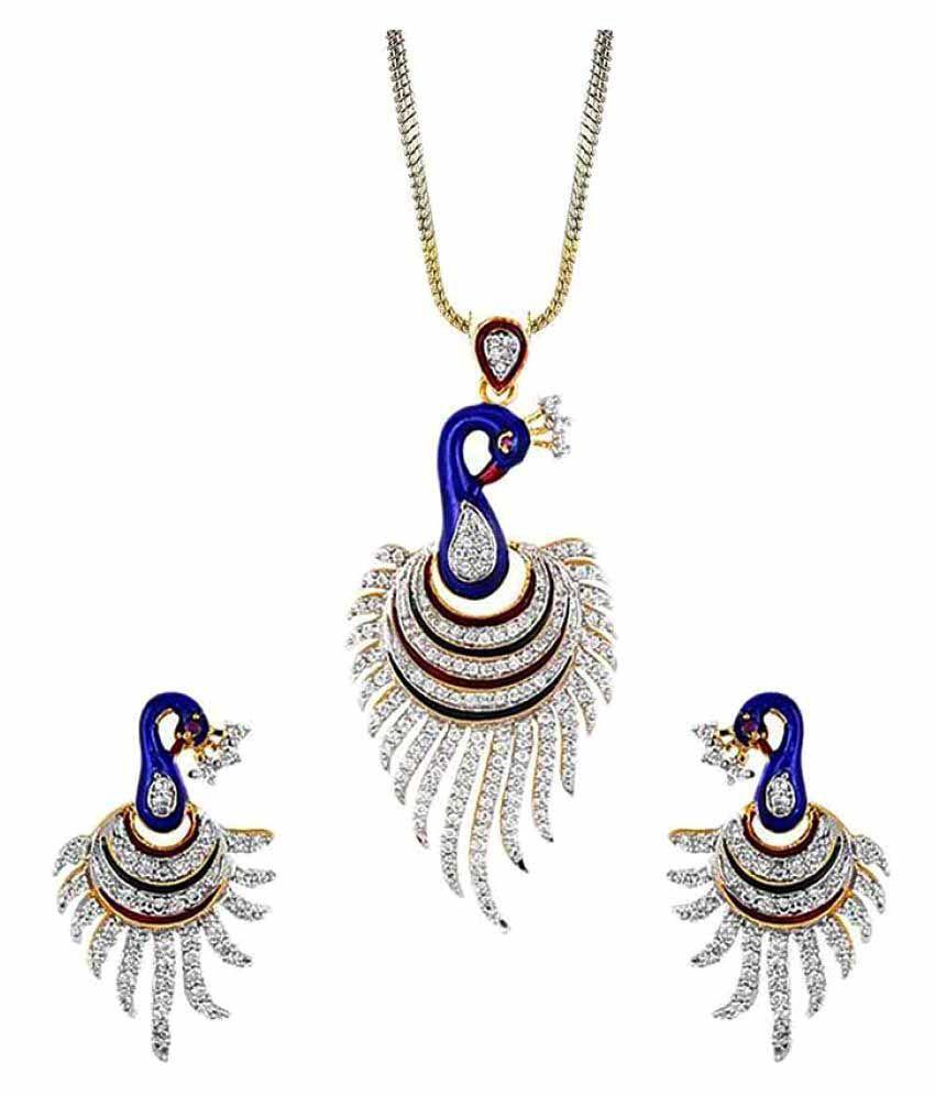 KAD Creations Multicolour Designer Partywear Traditional American Diamond Stone Necklace Set