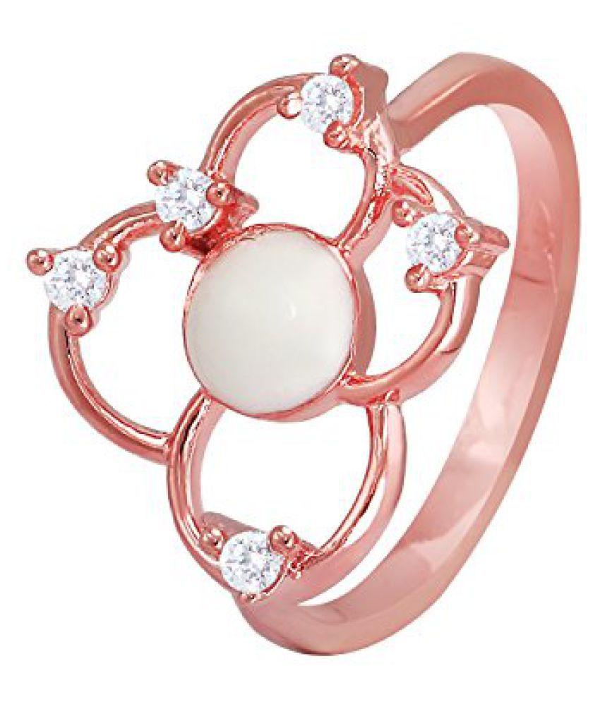 Mahi CZ White Flower Rose Gold Plated Finger Ring for Women FR1193668ZWhi