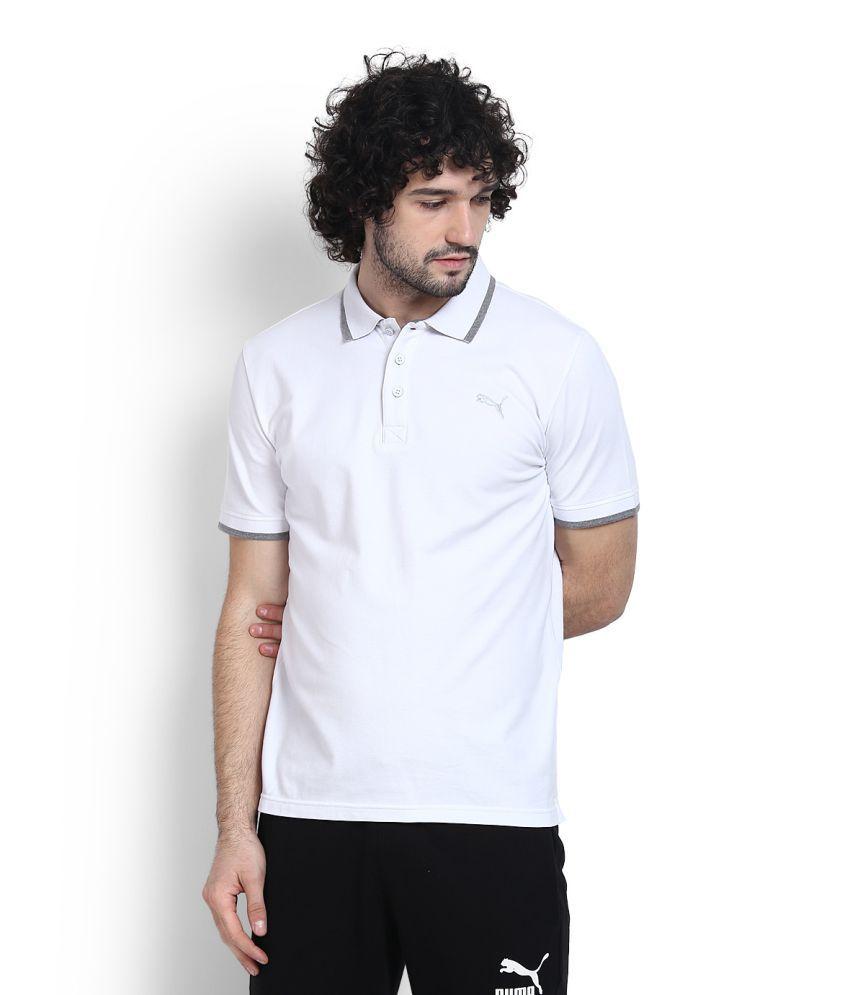 Puma White High Neck T-Shirt