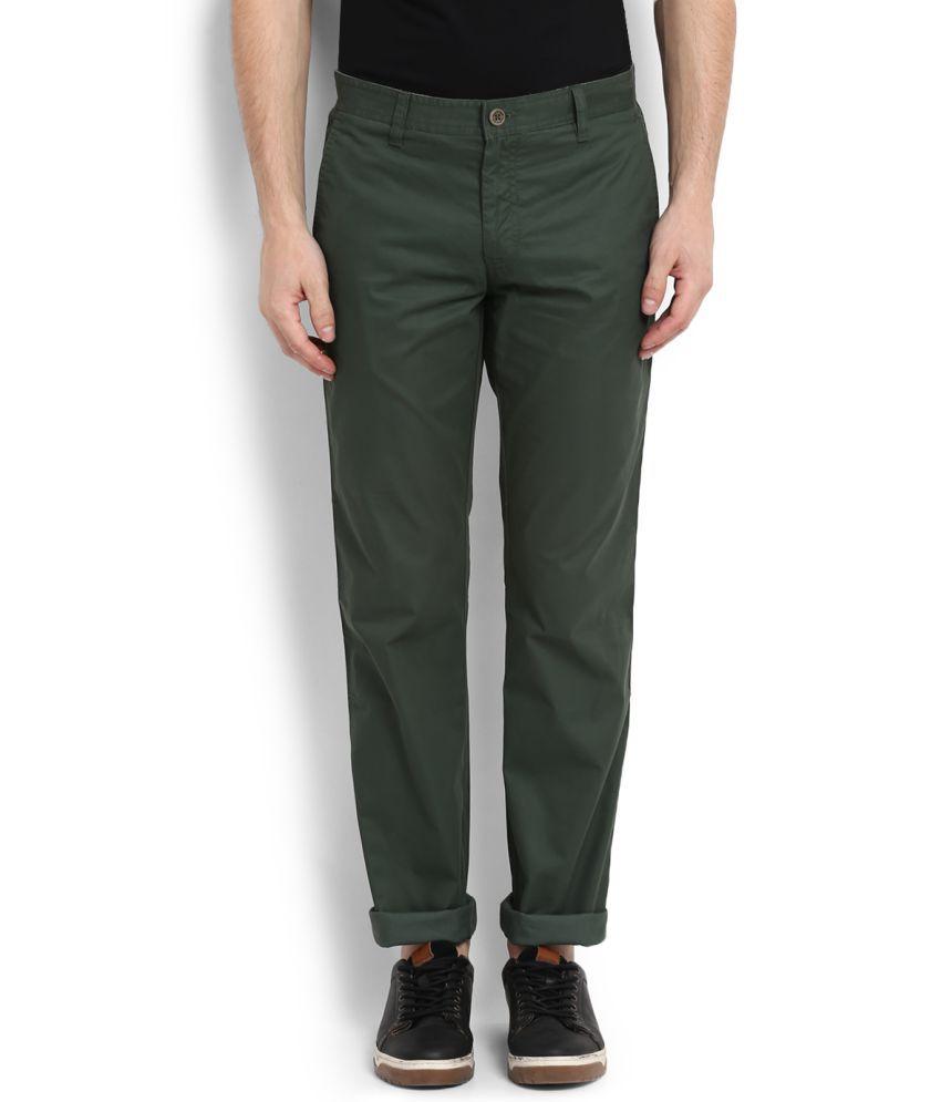 Van Heusen Sport Green Regular Flat Trousers
