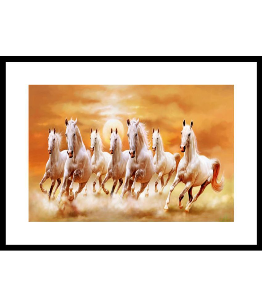 Myimage Seven White Horse Running Paper Wall Poster With Frame