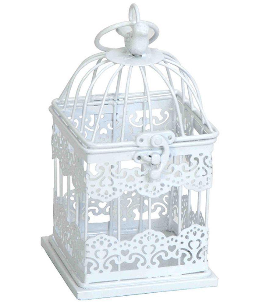 Deziworkz Mughal Jaal Birdcage-Home Garden-In/Outdoor Dcor Bird House  White ...